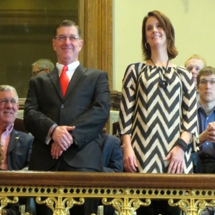 The two recipients of state Small Business Development Center awards were recognized in the Iowa Senate on Tuesday. Pictured responding to applause by senators are Mike Sexton, Rockwell City, and Heidi Bell, Leon.