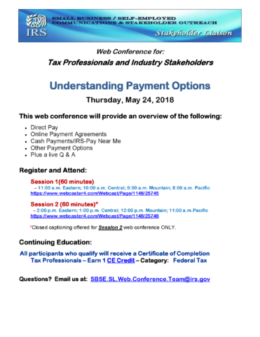 Understanding Payment Options: Web Conference for Tax Professionals and Industry Stakeholders